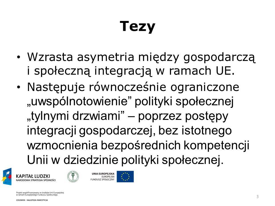 3 Tezy Wzrasta asymetria między gospodarczą i społeczną integracją w ramach UE.