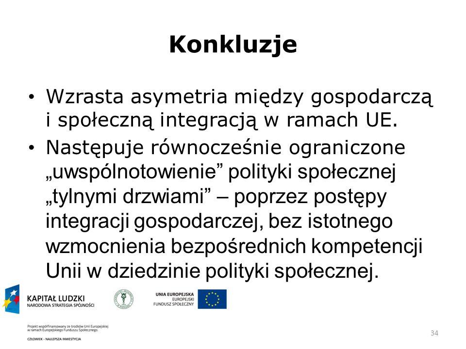 34 Konkluzje Wzrasta asymetria między gospodarczą i społeczną integracją w ramach UE.