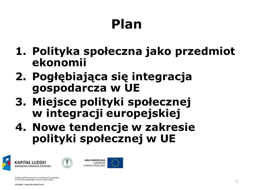 5 Plan 1.Polityka społeczna jako przedmiot ekonomii 2.Pogłębiająca się integracja gospodarcza w UE 3.Miejsce polityki społecznej w integracji europejskiej 4.Nowe tendencje w zakresie polityki społecznej w UE