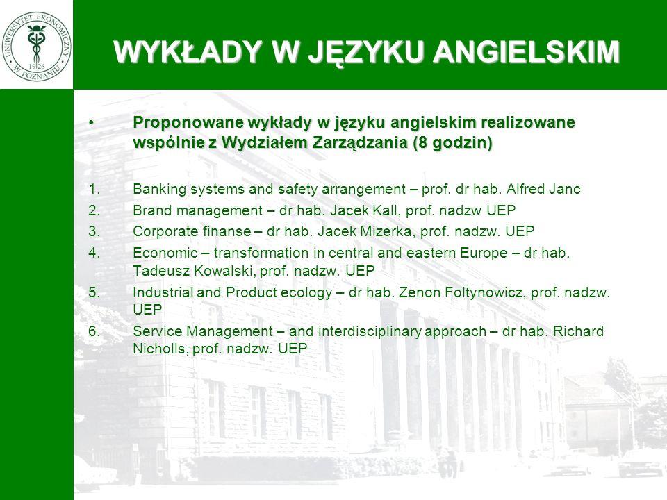 Proponowane wykłady w języku angielskim realizowane wspólnie z Wydziałem Zarządzania (8 godzin)Proponowane wykłady w języku angielskim realizowane wsp
