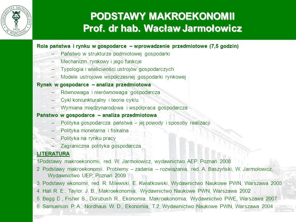 PODSTAWY MAKROEKONOMII Prof. dr hab. Wacław Jarmołowicz Rola państwa i rynku w gospodarce – wprowadzenie przedmiotowe (7,5 godzin) –Państwo w struktur