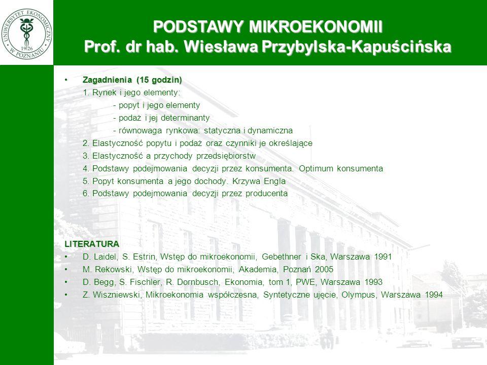 PODSTAWY MIKROEKONOMII Prof. dr hab. Wiesława Przybylska-Kapuścińska Zagadnienia (15 godzin)Zagadnienia (15 godzin) 1. Rynek i jego elementy: - popyt