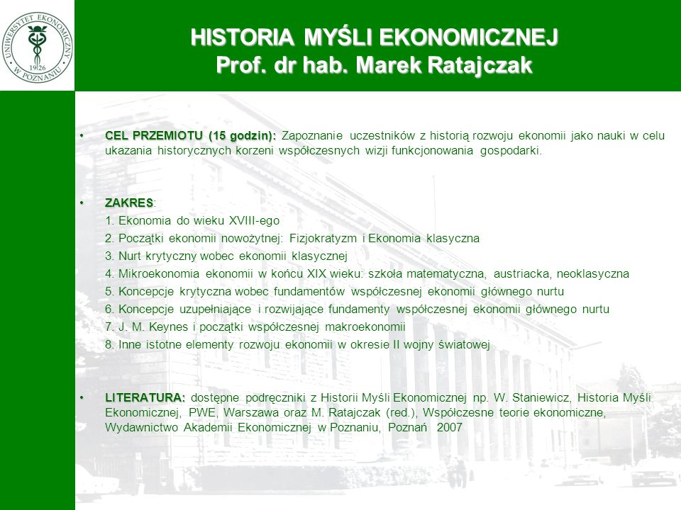 PROGRAM 4-LETNICH STUDIÓW DOKTORANCKICH NA WYDZIALE EKONOMII Rok I Semestr 2