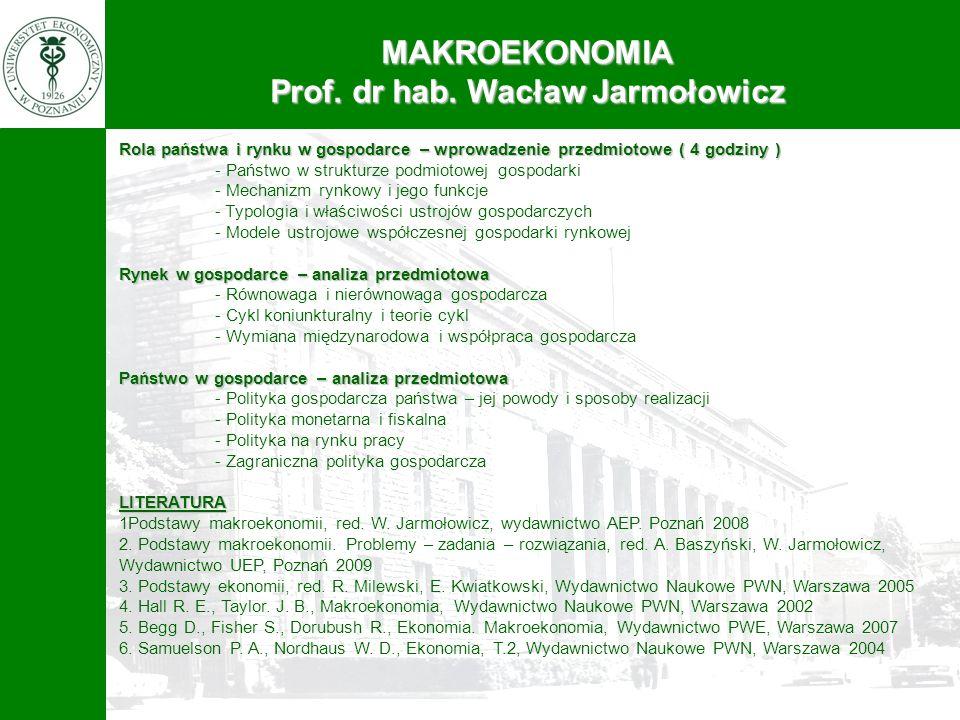 MAKROEKONOMIA Prof. dr hab. Wacław Jarmołowicz Rola państwa i rynku w gospodarce – wprowadzenie przedmiotowe ( 4 godziny ) - Państwo w strukturze podm