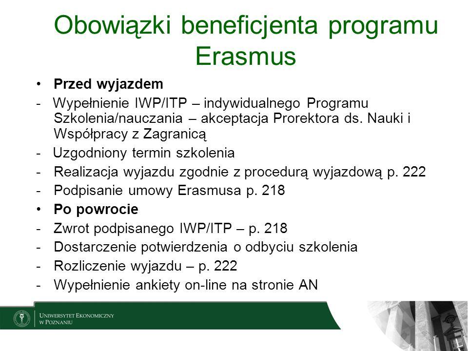 Obowiązki beneficjenta programu Erasmus Przed wyjazdem - Wypełnienie IWP/ITP – indywidualnego Programu Szkolenia/nauczania – akceptacja Prorektora ds.