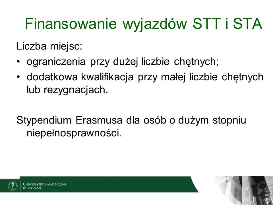 Finansowanie wyjazdów STT i STA Liczba miejsc: ograniczenia przy dużej liczbie chętnych; dodatkowa kwalifikacja przy małej liczbie chętnych lub rezygn