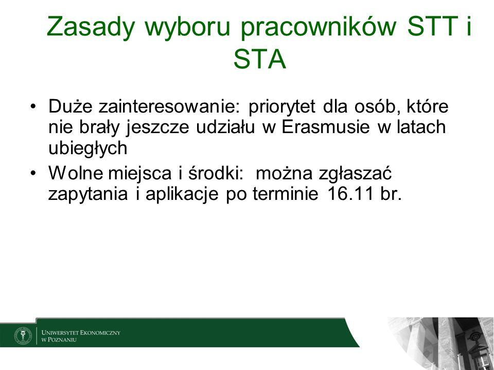 Zasady wyboru pracowników STT i STA Duże zainteresowanie: priorytet dla osób, które nie brały jeszcze udziału w Erasmusie w latach ubiegłych Wolne mie