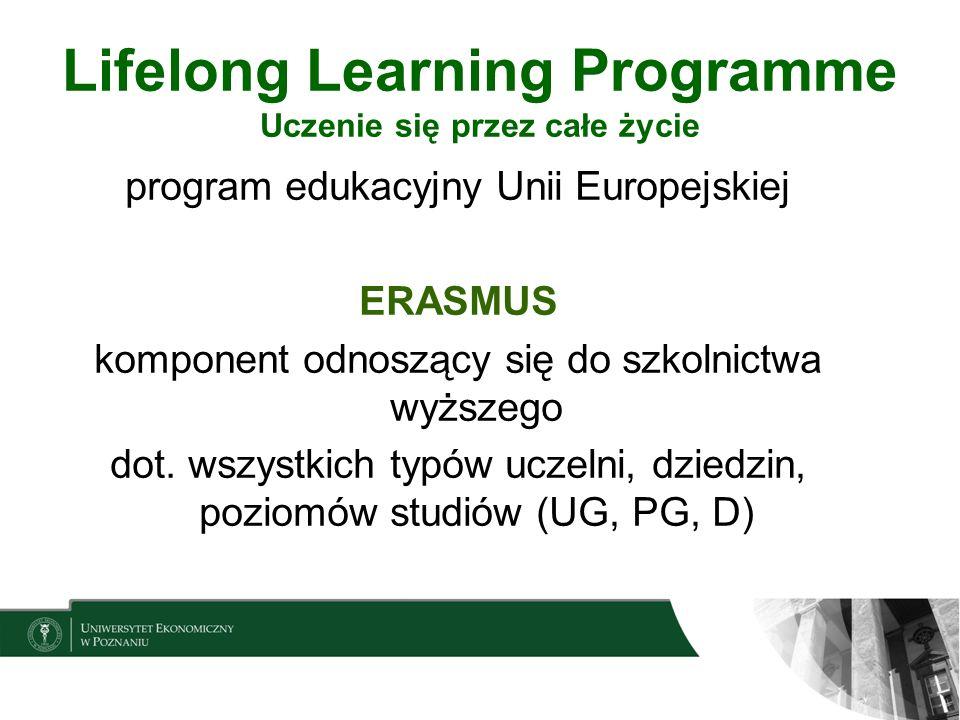 Lifelong Learning Programme Uczenie się przez całe życie program edukacyjny Unii Europejskiej ERASMUS komponent odnoszący się do szkolnictwa wyższego