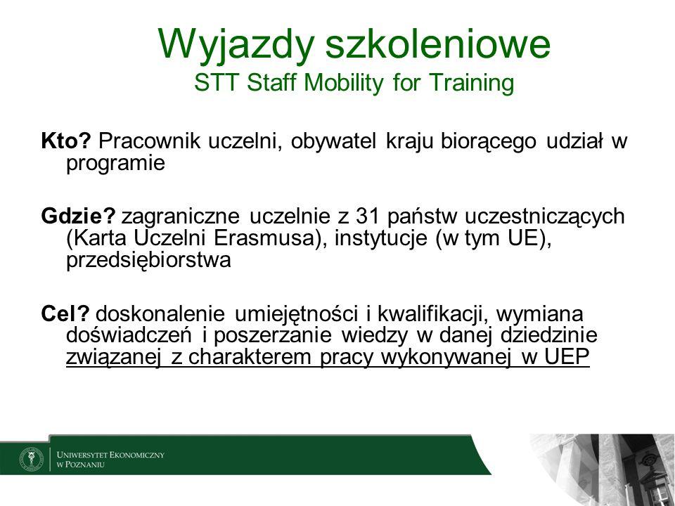 Wyjazdy szkoleniowe STT Staff Mobility for Training Kto? Pracownik uczelni, obywatel kraju biorącego udział w programie Gdzie? zagraniczne uczelnie z