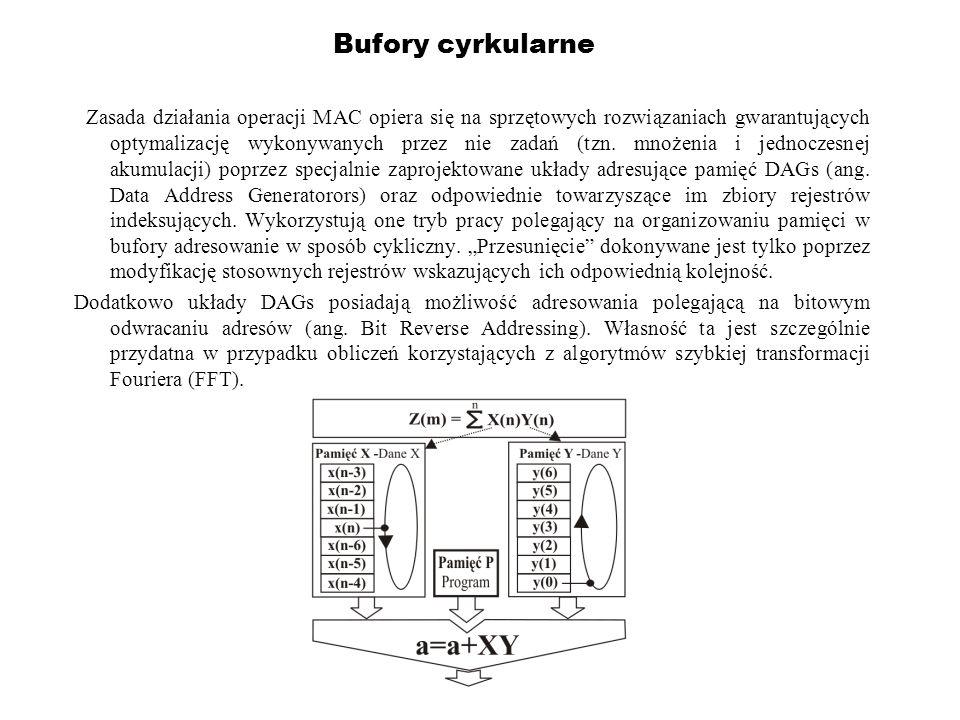 Bufory cyrkularne Zasada działania operacji MAC opiera się na sprzętowych rozwiązaniach gwarantujących optymalizację wykonywanych przez nie zadań (tzn