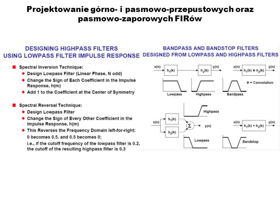 Projektowanie górno- i pasmowo-przepustowych oraz pasmowo-zaporowych FIRów