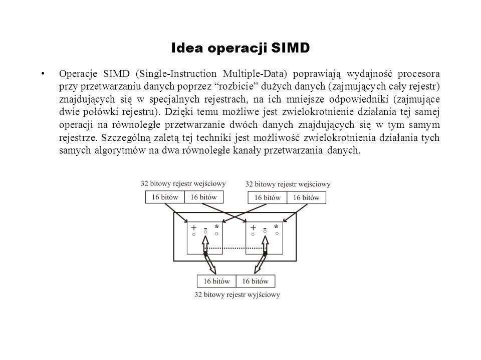Idea operacji SIMD Operacje SIMD (Single-Instruction Multiple-Data) poprawiają wydajność procesora przy przetwarzaniu danych poprzez rozbicie dużych d