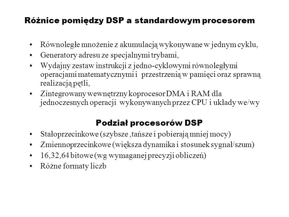 DSP - Zastosowania Telekomunikacja: kompresja dźwięku i obrazu, redukcja pogłosu, komutacja,filtrowanie (telefonia komórkowa – generacje 2.5G, 3G – UMTS, CDMA2000, 4G) Wojsko: radary i sonary, szyfrowanie, nawigacja, GPS – Global Positioning Satellite Medycyna: analiza i przetwarzanie obrazów EKG, rezonansu jądrowego MRI i tomografii PET..,składanie danych medycznych – kompresja Przemysł kosmiczny: wyostrzanie zdjęć, kompresja danych, analiza sygnałów z czujników Przemysł: poszukiwania złóż ropy i minerałów, monitoring i sterowanie procesami, przeprowadzanie testów, projektowanie – CAD Zastosowania komercyjne: multimedia, wizualne efekty specjalne, wideo konferencje, GPS Nauka: nagrywanie i analiza wstrząsów ziemi, gromadzenie danych, analiza spekteralna, symulacje i modelowanie, sterowanie w czasie rzeczywistym