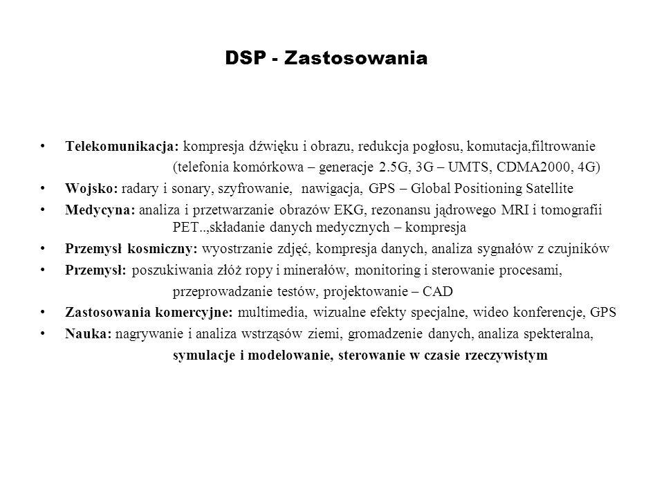 DSP - Zastosowania Telekomunikacja: kompresja dźwięku i obrazu, redukcja pogłosu, komutacja,filtrowanie (telefonia komórkowa – generacje 2.5G, 3G – UM