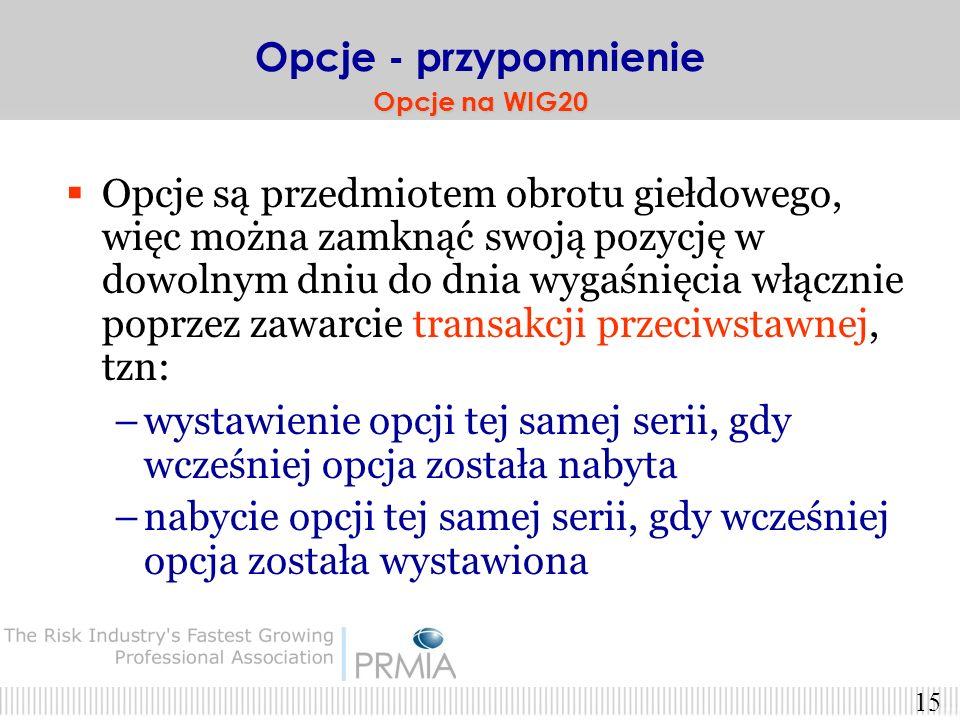 14 Opcje na GPW są opcjami typu europejskiego (mogą być wyłącznie wykonane w dniu wygaśnięcia) Wykonanie w dniu wygaśnięcia jest automatyczne Opcje -