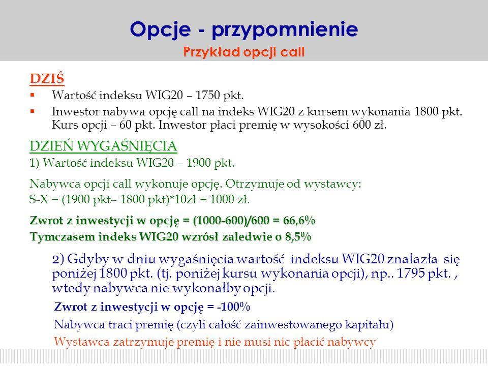 23 X dochód dla nabywcy opcji call -P X+P 0 S + - Oznaczenia: X – kurs wykonania opcji P – premia opcyjna S – wartość indeksu WIG20 strata zysk zysk O