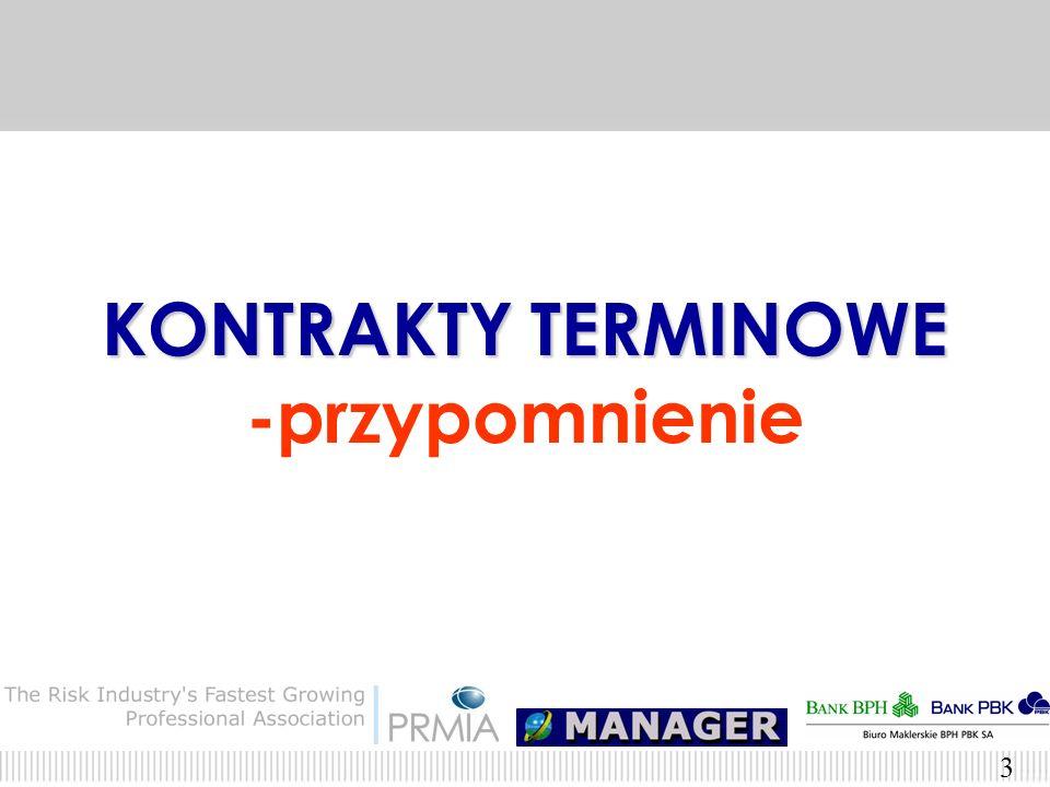 2 Agenda Kontrakty terminowe – przypomnienie Opcje – przypomnienie Kontrakty terminowe a opcje – podobieństwa i różnice Wykorzystanie kontraktów termi