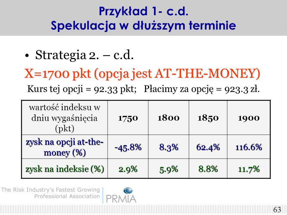 62 Strategia 2. – c.d. wartość indeksu w dniu wygaśnięcia (pkt)1750180018501900 zysk na opcji in- the-money (%) -1.22%31.7%64.6%97.5% zysk na indeksie