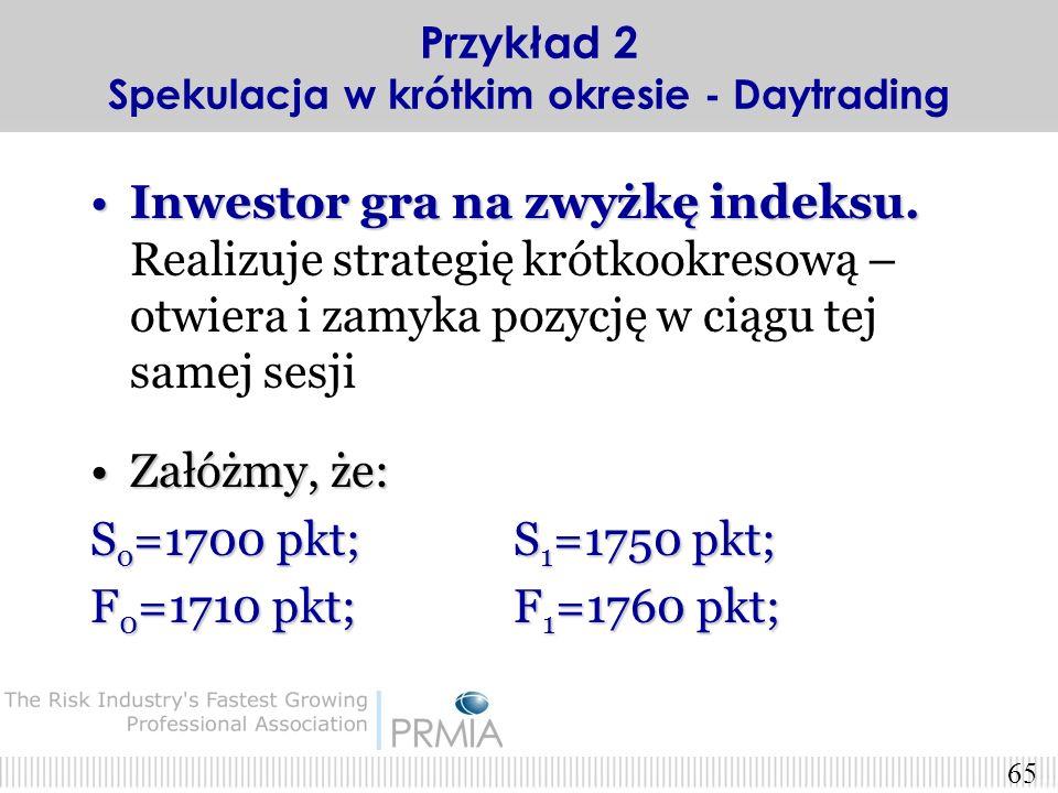 64 Strategia 2. – c.d. X=1800 pkt (opcja jest OUT-OF-THE-MONEY) Kurs tej opcji = 51.17 pkt; Płacimy za opcję = 511.7 zł. wartość indeksu w dniu wygaśn