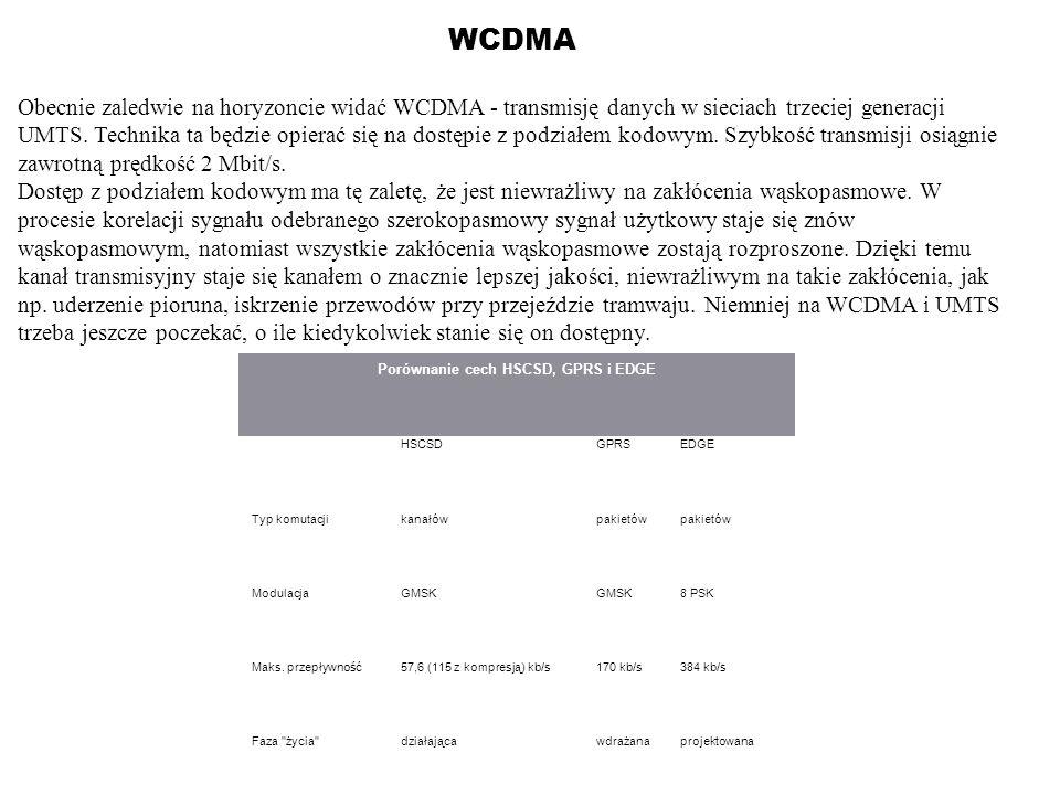 WCDMA Obecnie zaledwie na horyzoncie widać WCDMA - transmisję danych w sieciach trzeciej generacji UMTS. Technika ta będzie opierać się na dostępie z