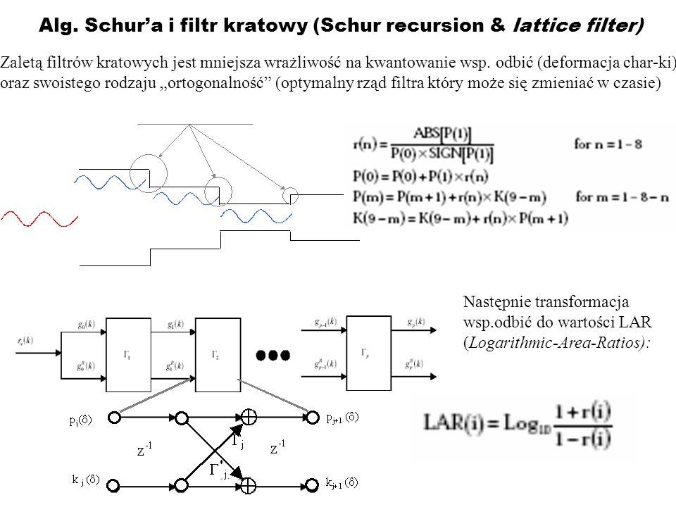 Alg. Schura i filtr kratowy (Schur recursion & lattice filter) Zaletą filtrów kratowych jest mniejsza wrażliwość na kwantowanie wsp. odbić (deformacja