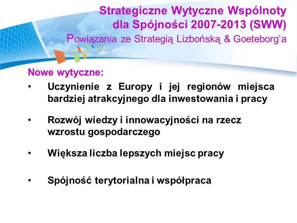 Strategiczne podejście do spójności Dokument na szczeblu wspólnotowym – Strategiczne Wytyczne Wspólnoty nt.