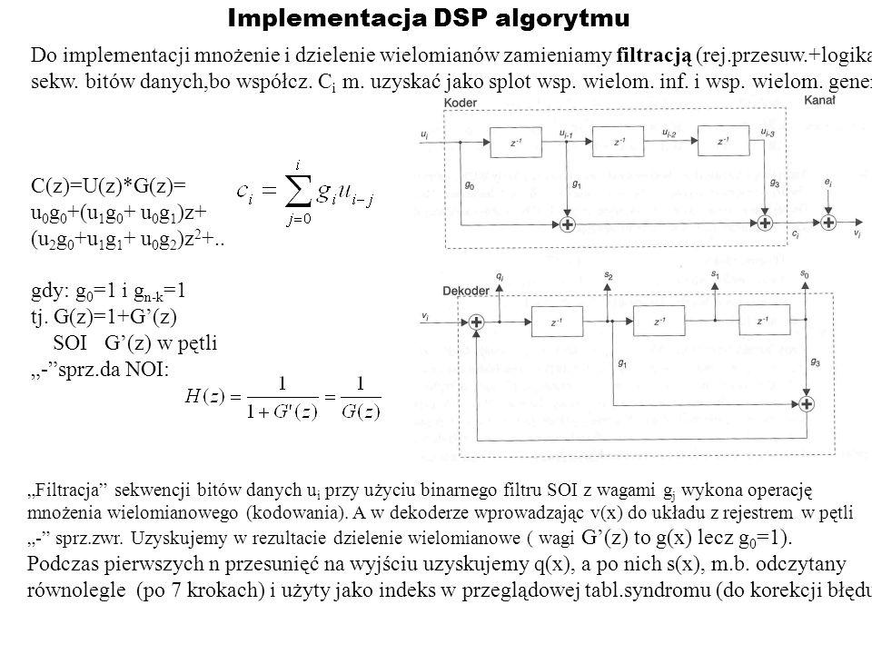 Implementacja DSP algorytmu Do implementacji mnożenie i dzielenie wielomianów zamieniamy filtracją (rej.przesuw.+logika) sekw. bitów danych,bo współcz