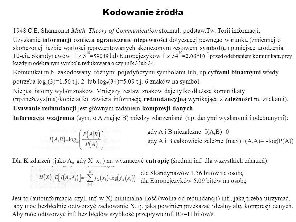 Kodowanie żródła 1948 C.E. Shannon A Math. Theory of Communication sformuł. podstaw.Tw. Torii informacji. Uzyskanie informacji oznacza ograniczenie ni