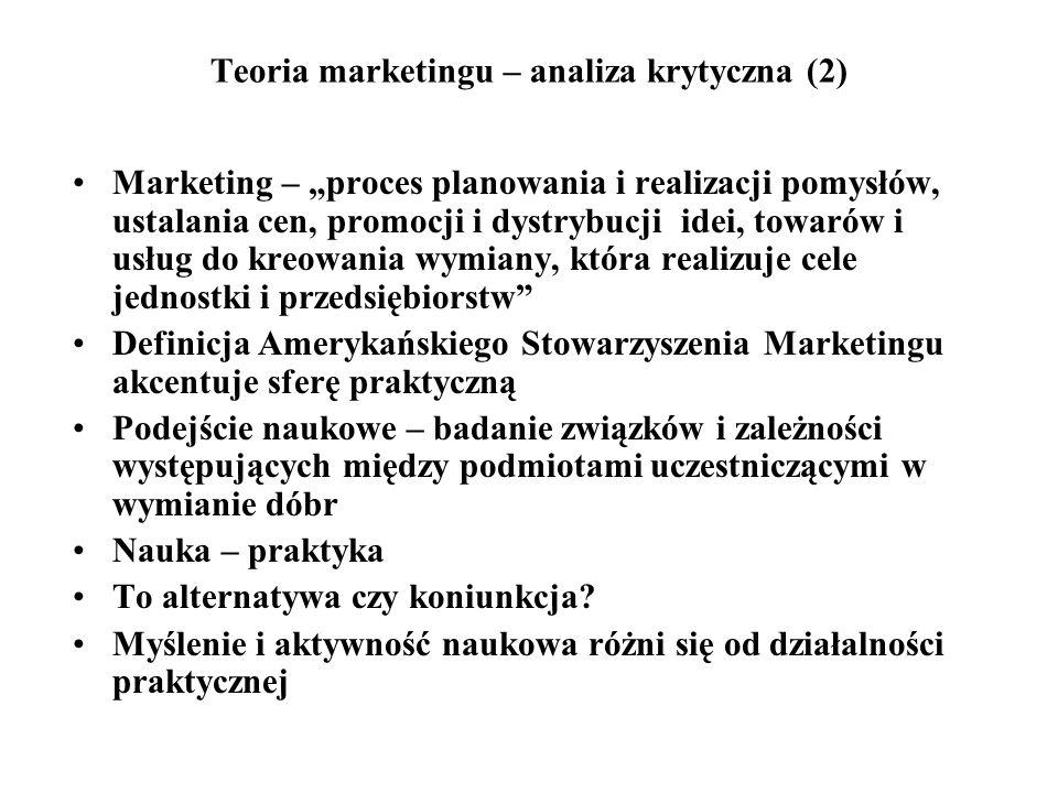 Teoria marketingu – analiza krytyczna (2) Marketing – proces planowania i realizacji pomysłów, ustalania cen, promocji i dystrybucji idei, towarów i u