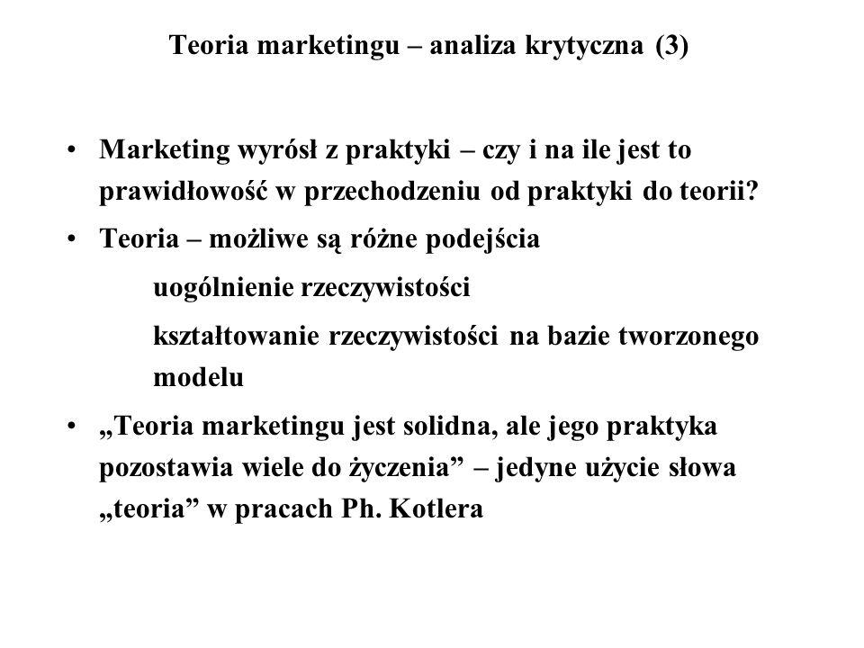 Teoria marketingu – analiza krytyczna (3) Marketing wyrósł z praktyki – czy i na ile jest to prawidłowość w przechodzeniu od praktyki do teorii? Teori