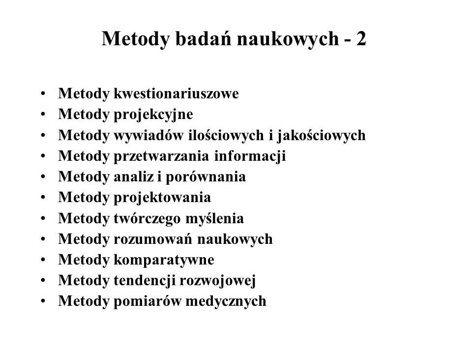 Metody badań naukowych - 2 Metody kwestionariuszowe Metody projekcyjne Metody wywiadów ilościowych i jakościowych Metody przetwarzania informacji Meto