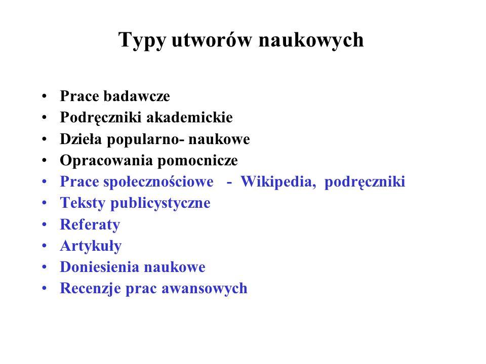 Typy utworów naukowych Prace badawcze Podręczniki akademickie Dzieła popularno- naukowe Opracowania pomocnicze Prace społecznościowe - Wikipedia, podr