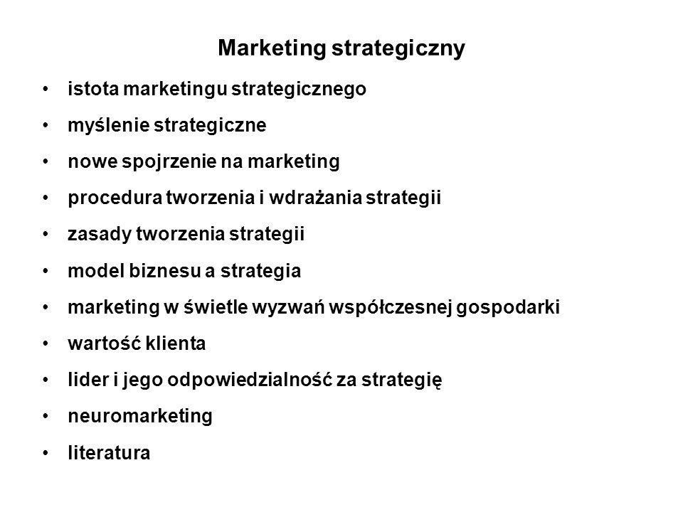 Istota marketingu strategicznego marketing - ujęcie produktowo - rynkowe zarządzanie strategiczne - produkt - konkurencja lub rynek - konkurencja marketing - dział marketingu czy najwyższe szczeble zarządzania penetracja rynku - marketing operacyjny zrozumienie rynków - marketing strategiczny spojrzenie strategiczne - cele dalekosiężne, koncentracja na rozwoju długofalowym właściwe definiowanie makrotrendów umiejętność kreatywnego myślenia docenianie i doskonalenie sztuki przewodzenia zgodność działań z zasadami etyki