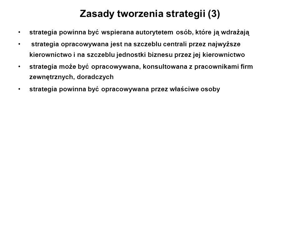 Zasady tworzenia strategii (3) strategia powinna być wspierana autorytetem osób, które ją wdrażają strategia opracowywana jest na szczeblu centrali pr