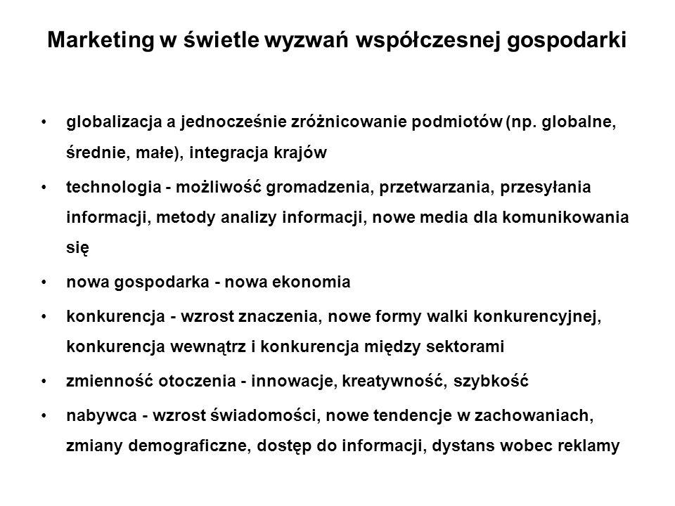 Marketing w świetle wyzwań współczesnej gospodarki globalizacja a jednocześnie zróżnicowanie podmiotów (np. globalne, średnie, małe), integracja krajó