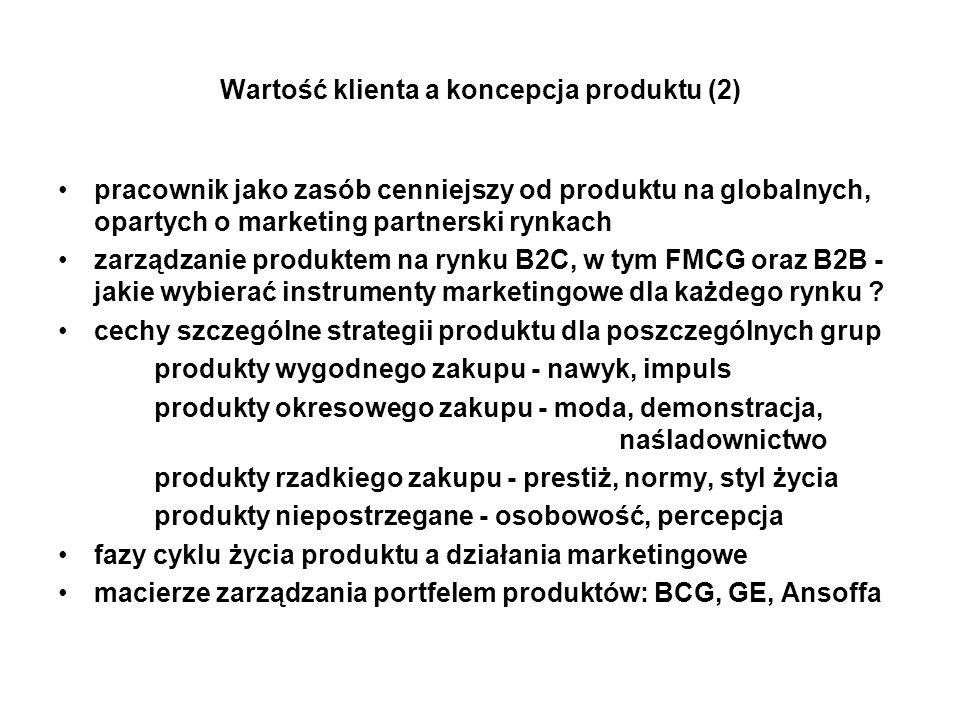 Wartość klienta a koncepcja produktu (2) pracownik jako zasób cenniejszy od produktu na globalnych, opartych o marketing partnerski rynkach zarządzani