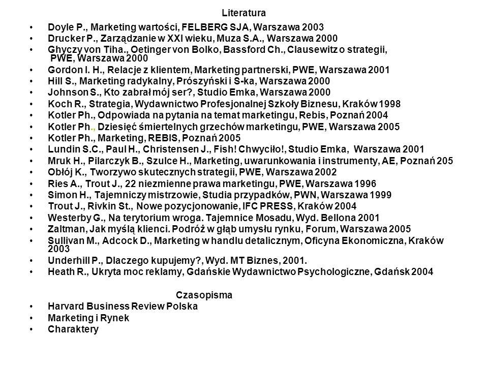 Literatura Doyle P., Marketing wartości, FELBERG SJA, Warszawa 2003 Drucker P., Zarządzanie w XXI wieku, Muza S.A., Warszawa 2000 Ghyczy von Tiha., Oe