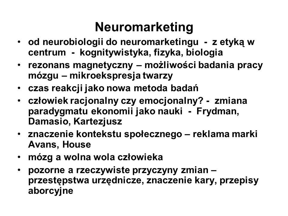 Neuromarketing od neurobiologii do neuromarketingu - z etyką w centrum - kognitywistyka, fizyka, biologia rezonans magnetyczny – możliwości badania pr