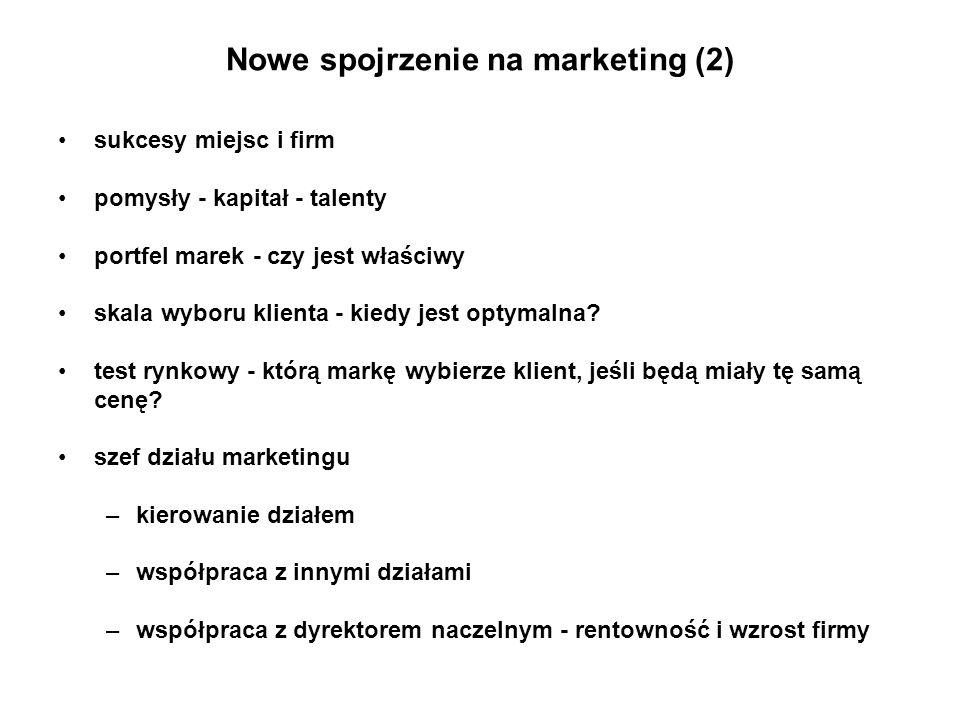 Nowe spojrzenie na marketing (2) sukcesy miejsc i firm pomysły - kapitał - talenty portfel marek - czy jest właściwy skala wyboru klienta - kiedy jest