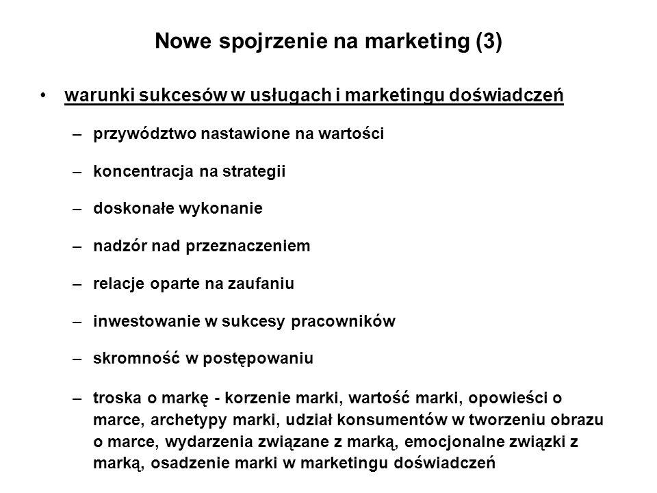 Nowe spojrzenie na marketing (3) warunki sukcesów w usługach i marketingu doświadczeń –przywództwo nastawione na wartości –koncentracja na strategii –