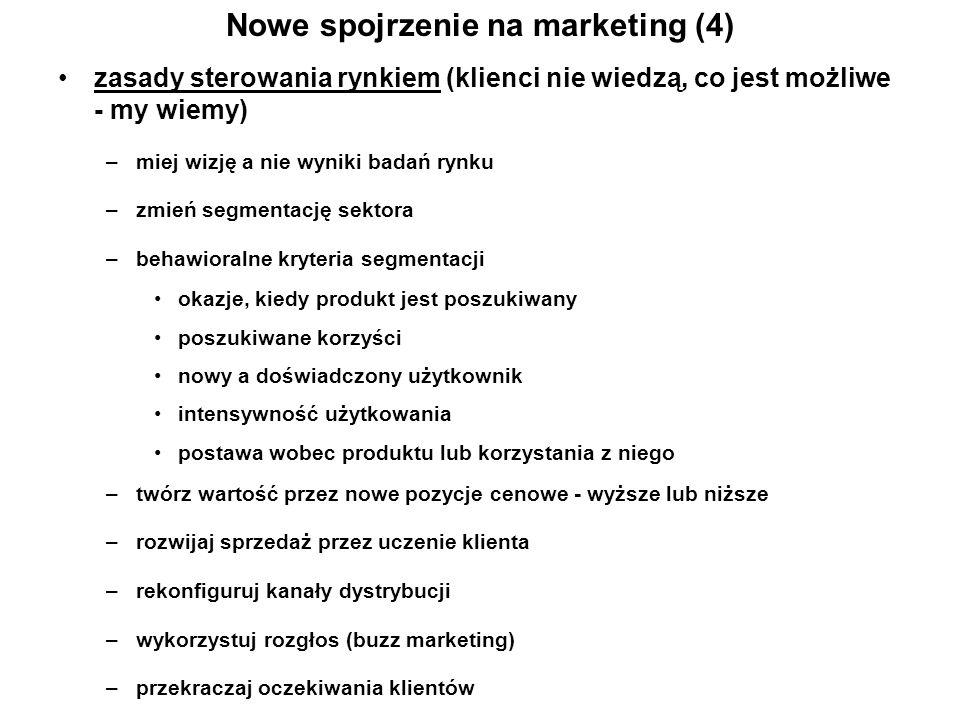 Nowe spojrzenie na marketing (4) zasady sterowania rynkiem (klienci nie wiedzą, co jest możliwe - my wiemy) –miej wizję a nie wyniki badań rynku –zmie