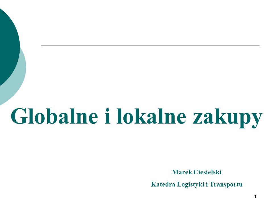 Globalne i lokalne zakupy Marek Ciesielski Katedra Logistyki i Transportu 1