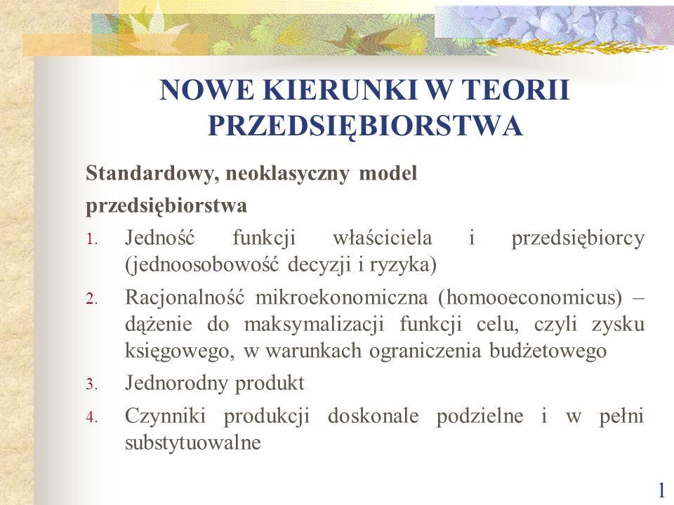 1 NOWE KIERUNKI W TEORII PRZEDSIĘBIORSTWA Standardowy, neoklasyczny model przedsiębiorstwa 1. Jedność funkcji właściciela i przedsiębiorcy (jednoosobo