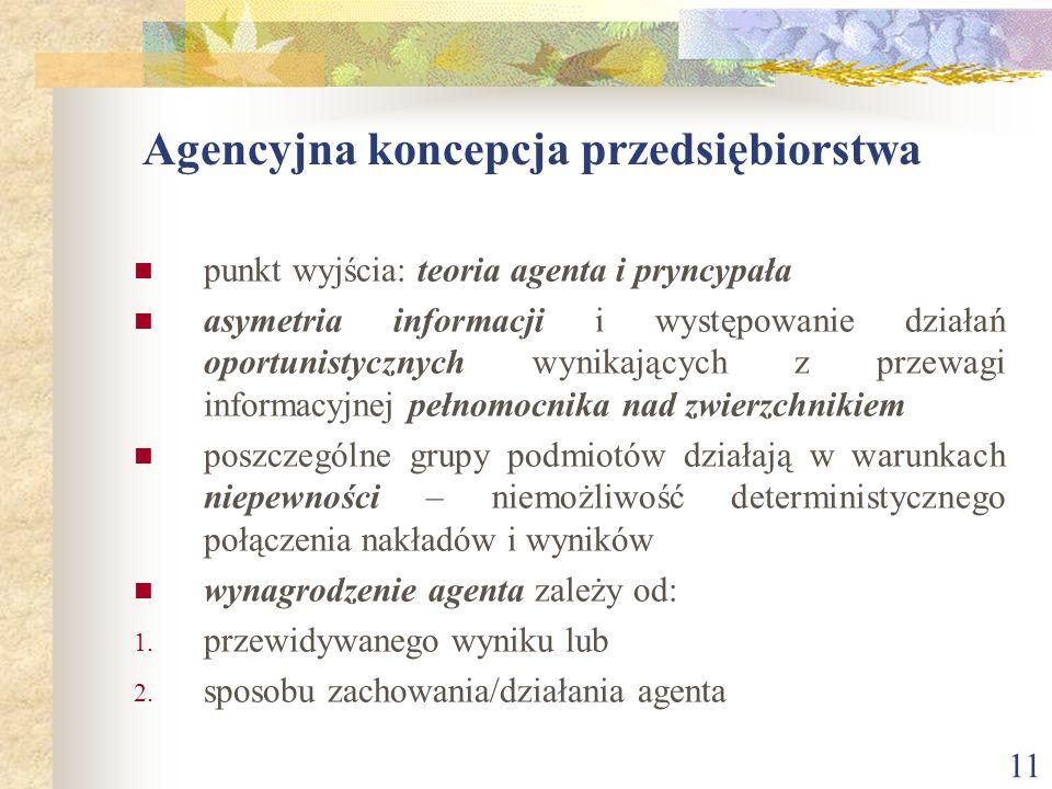 11 Agencyjna koncepcja przedsiębiorstwa punkt wyjścia: teoria agenta i pryncypała asymetria informacji i występowanie działań oportunistycznych wynika