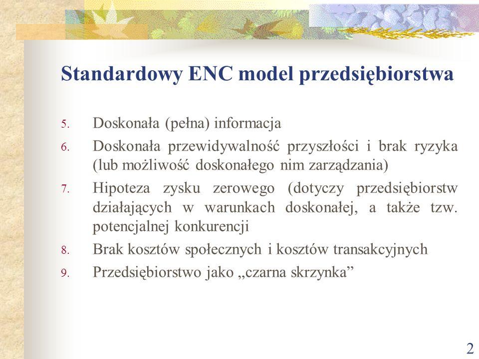 2 Standardowy ENC model przedsiębiorstwa 5. Doskonała (pełna) informacja 6. Doskonała przewidywalność przyszłości i brak ryzyka (lub możliwość doskona