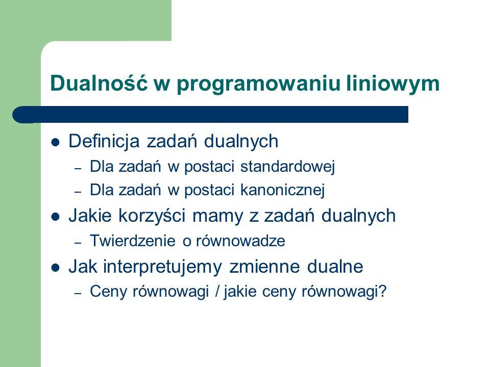 Dualność w programowaniu liniowym Definicja zadań dualnych – Dla zadań w postaci standardowej – Dla zadań w postaci kanonicznej Jakie korzyści mamy z