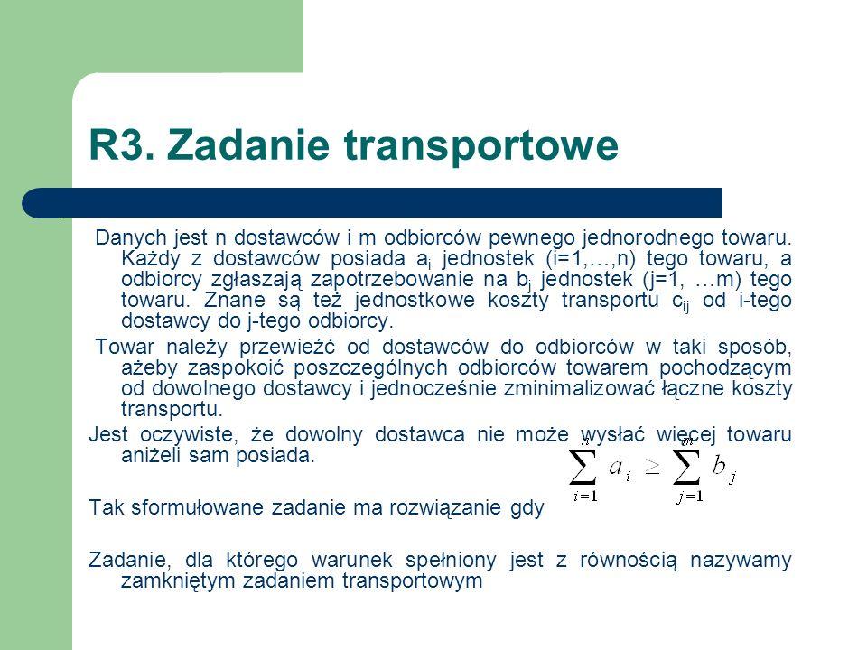 R3. Zadanie transportowe Danych jest n dostawców i m odbiorców pewnego jednorodnego towaru. Każdy z dostawców posiada a i jednostek (i=1,…,n) tego tow