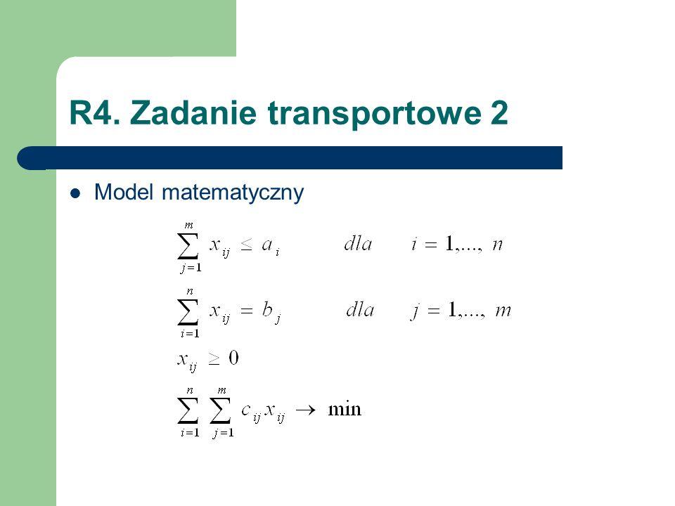 R4. Zadanie transportowe 2 Model matematyczny