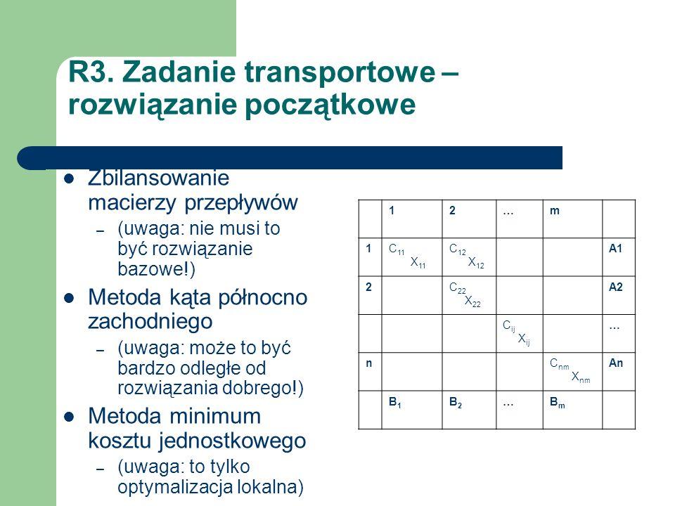R3. Zadanie transportowe – rozwiązanie początkowe Zbilansowanie macierzy przepływów – (uwaga: nie musi to być rozwiązanie bazowe!) Metoda kąta północn