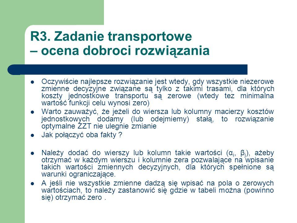 R3. Zadanie transportowe – ocena dobroci rozwiązania Oczywiście najlepsze rozwiązanie jest wtedy, gdy wszystkie niezerowe zmienne decyzyjne związane s